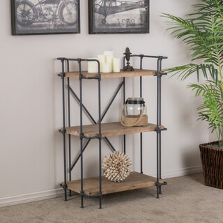 """Yorktown Industrial 3 Shelf Firwood Bookcase by Christopher Knight Home - 27.25"""" W x 17.00"""" D x 40.75"""" H"""