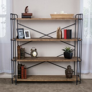 Yorktown Industrial 4 Shelf Firwood Bookcase by Christopher Knight Home