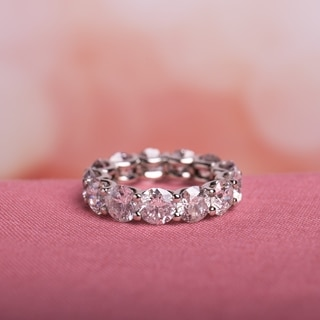 Miadora 19k White Gold 9 1/4ct TDW Diamond Eternity Ring (H-I, I2-I3)