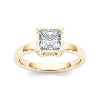 De Couer 14k Yellow Gold 1 1/5ct TDW Princess-Cut Diamond Classic Engagement Ring (H-I, I2)