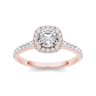 De Couer 14k Rose Gold 3/4ct TDW Diamond Halo Engagement Ring (H-I, I2)