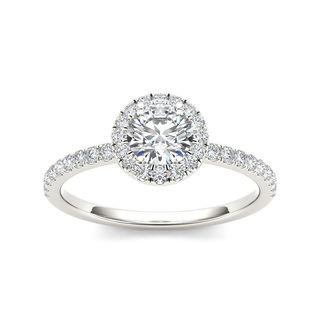 De Couer 14k White Gold 3/4ct TDW Diamond Halo Engagement Ring (H-I, I2)