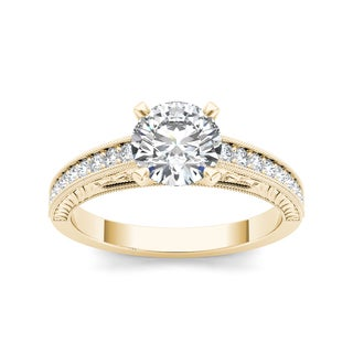 De Couer 14k Yellow Gold 1 1/4ct TDW Diamond Classic Engagement Ring (H-I, I2)