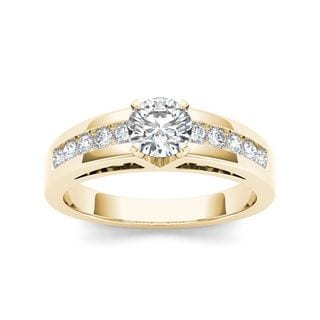 De Couer 14k Yellow Gold 1 1/4ct TDW Diamond Engagement Ring (H-I, I2)