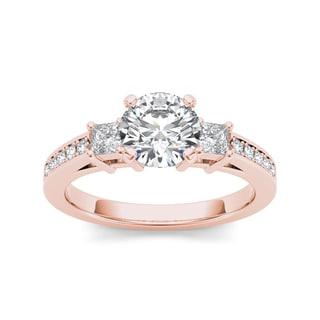 De Couer 14k Rose Gold 1 1/3ct TDW Diamond Three-Stone Anniversary Ring (H-I, I2)