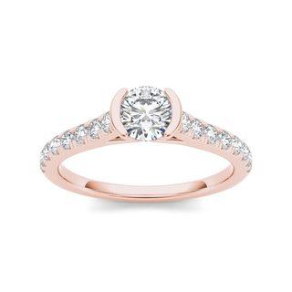 De Couer 14k Rose Gold 3/4ct TDW Diamond Half-Bezel Engagement Ring (H-I, I2)