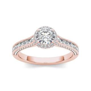 De Couer 14k Rose Gold 1 1/4ct TDW Diamond Halo Engagement Ring (H-I, I2)