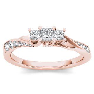 De Couer 10k Rose Gold 1/2ct TDW Diamond Three-Stone Anniversary Ring (H-I, I2)