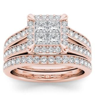 De Couer 14k Rose Gold 1 1/2ct TDW Diamond Halo Engagement Ring Set with One Band (H-I, I2)