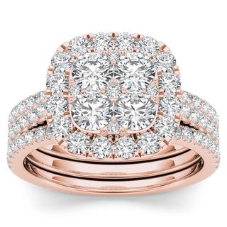 De Couer 14k Rose Gold 2ct TDW Diamond Halo Engagement Ring Set with Two Bands (H-I, I2)