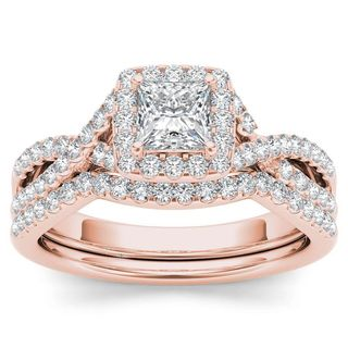 De Couer 14k Rose Gold 1ct TDW Diamond Criss-Cross Halo Engagement Ring Set with One Band (H-I, I2)