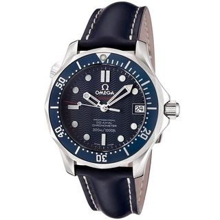 Omega Unisex 29228091 'Seamaster James Bond' Automatic Blue Leather Watch