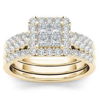 De Couer 14k Yellow Gold 1 1/4ct TDW Diamond Halo Engagement Ring Set with Two Bands (H-I, I2)