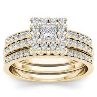 De Couer 14k Yellow Gold 7/8ct TDW Diamond Halo Engagement Ring Set with One Band (H-I, I2)