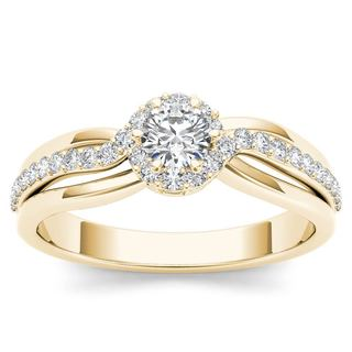 De Couer 10k Yellow Gold 1/2ct TDW Diamond Classic Bypass Engagement Ring (H-I, I2)