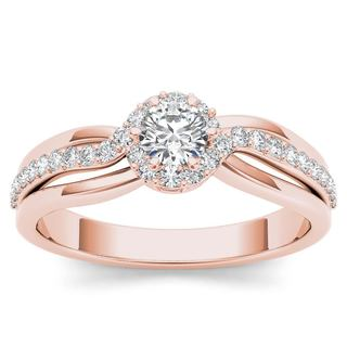 De Couer 10k Rose Gold 1/2ct TDW Diamond Classic Bypass Engagement Ring (H-I, I2)