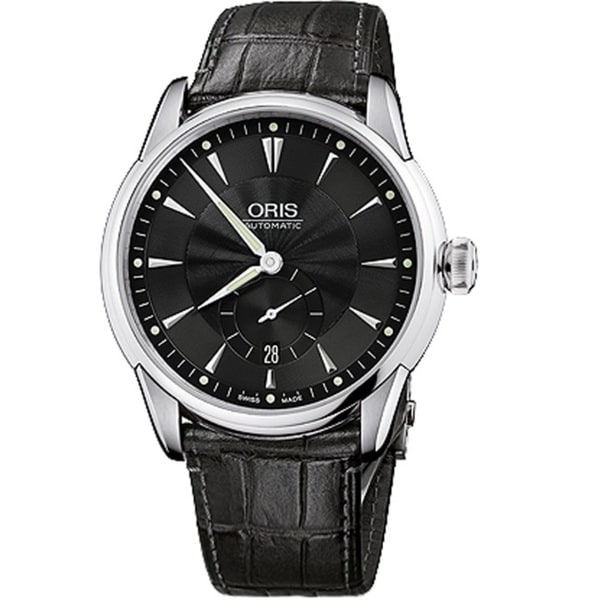 Oris Men's 62375824074LS 'Artelier' Automatic Black Leather Watch
