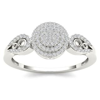De Couer 10k White Gold 1/5ct TDW Diamond Halo Engagement Ring (H-I, I2)