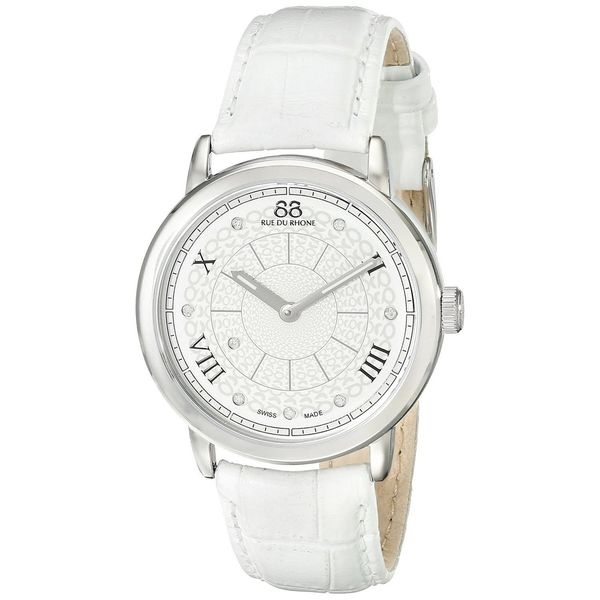 Rue Du Rhone Women's 87WA120008 'Double 8' Diamond White Leather Watch