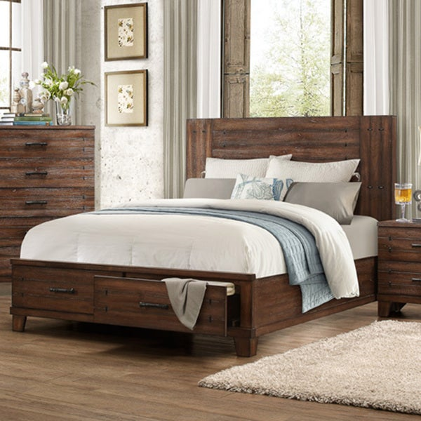 Lori Natural Wood Finish Contemporary Style Platform Bed with Storage