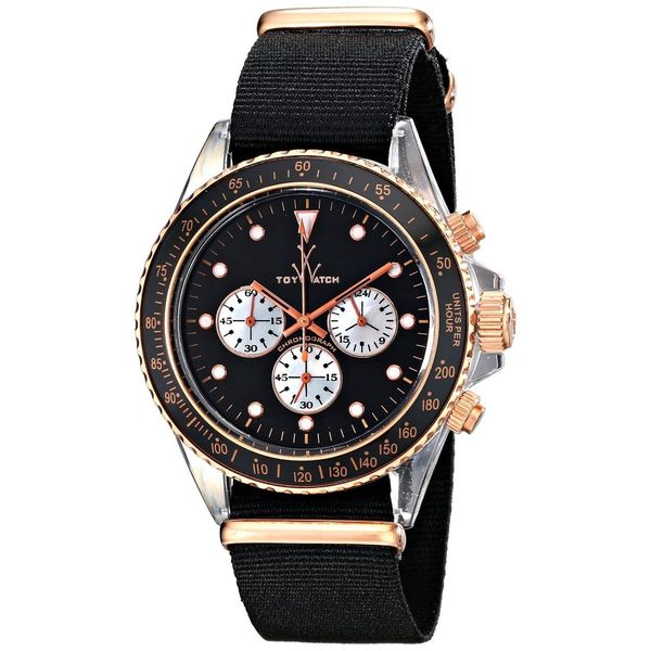 Toy Watch Men's 8011BKPG Chronograph Black Canvas Watch
