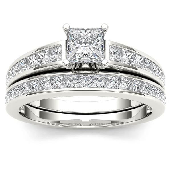 De Couer 14k White Gold 1 1/2ct TDW Diamond Classic Engagement Ring Set with One Band (H-I, I2)
