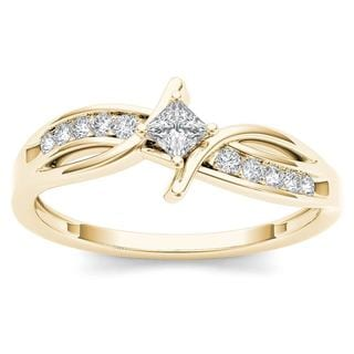 De Couer 10k Yellow Gold 1/4ct TDW Diamond Bypass Engagement Ring (H-I, I2)