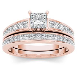 De Couer 14k Rose Gold 1 1/2ct TDW Diamond Classic Engagement Ring Set with One Band (H-I, I2)