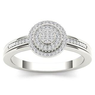 De Couer 10k White Gold 1/6ct TDW Diamond Halo Engagement Ring (H-I, I2)
