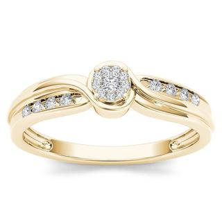 De Couer 10k Yellow Gold 1/10ct TDW Diamond Bypass Cluster Engagement Ring (H-I, I2)