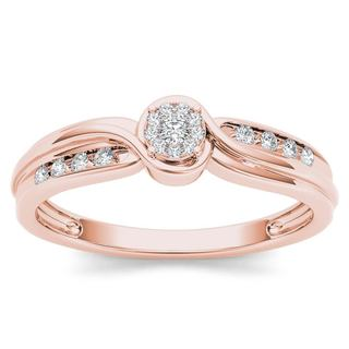 De Couer 10k Rose Gold 1/10ct TDW Diamond Bypass Cluster Engagement Ring (H-I, I2)