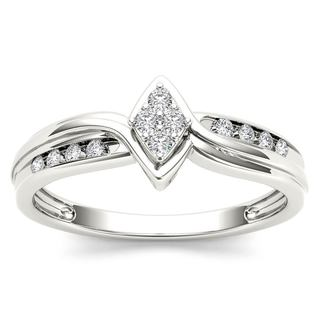 De Couer 10k White Gold 1/10ct TDW Diamond Cluster Engagement Ring (H-I, I2)