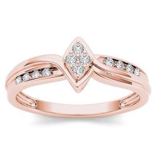 De Couer 10k Rose Gold 1/10ct TDW Diamond Cluster Engagement Ring (H-I, I2)