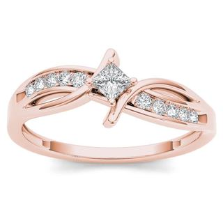 De Couer 10k Rose Gold 1/4ct TDW Diamond Bypass Engagement Ring (H-I, I2)