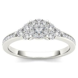 De Couer 10k White Gold 1/2ct TDW Diamond Three-Stone Look Halo Engagement Ring (H-I, I2)
