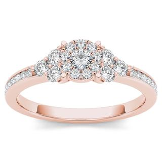 De Couer 10k Rose Gold 1/2ct TDW Diamond Three-Stone Look Halo Engagement Ring (H-I, I2)