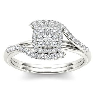 De Couer 10k White Gold 1/2ct TDW Diamond Bypass Halo Engagement Ring (H-I, I2)