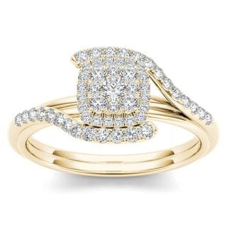De Couer 10k Yellow Gold 1/2ct TDW Diamond Bypass Halo Engagement Ring (H-I, I2)