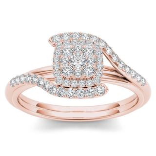 De Couer 10k Rose Gold 1/2ct TDW Diamond Bypass Halo Engagement Ring (H-I, I2)