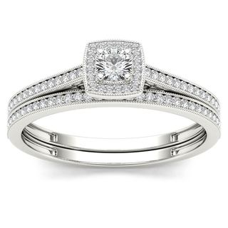 De Couer 10k White Gold 1/3ct TDW Diamond Halo Engagement Ring with One Band (H-I, I2)
