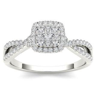 De Couer 10k White Gold 1/2ct TDW Diamond Halo Engagement Ring (H-I, I2)