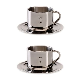 BergHOFF Straight 3-ounce Coffee Cup and Saucer (Set of 2)