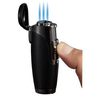 Visol Triad Triple Jet Flame Cigar Lighter - Black Matte - Ships Degassed