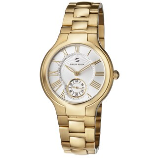 Philip Stein Women's 41GP-CWG-SS3GP 'Novelties' Silver Dial Yellow Goldtone Stainless Steel Watch