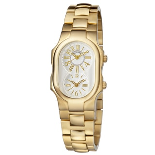 Philip Stein Women's 1GP-MWG-SSGP3 'Signature' Silver Dial Yellow Goldtone Stainless Steel Swiss Quartz