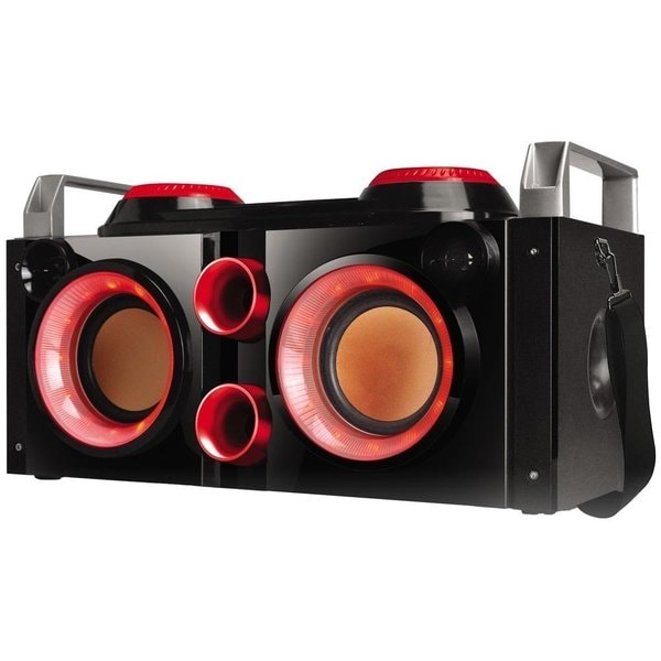 QFX PBX-505200BT Tailgaiter Black/ Red Portable Bluetooth PA System Boombox