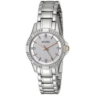 Bulova Women's Diamond Mother Of Pearl Dial Stainless Steel Watch 98L180
