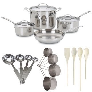Cuisinart 7-Piece Chefs Classic Stainless Cookware Set Bundle + 4-Piece Wooden Utensil Set + Measuring Spoons/Cups