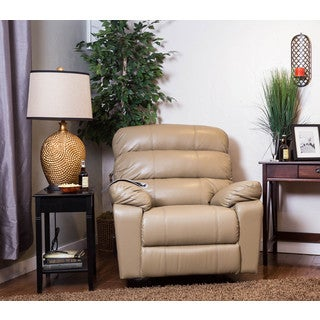 The Somette Ashdown Taupe Bonded Leather Rocker Recliner