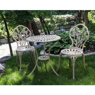 Somette Flourish Sand Cast Aluminum Outdoor 3-Piece Bistro Set